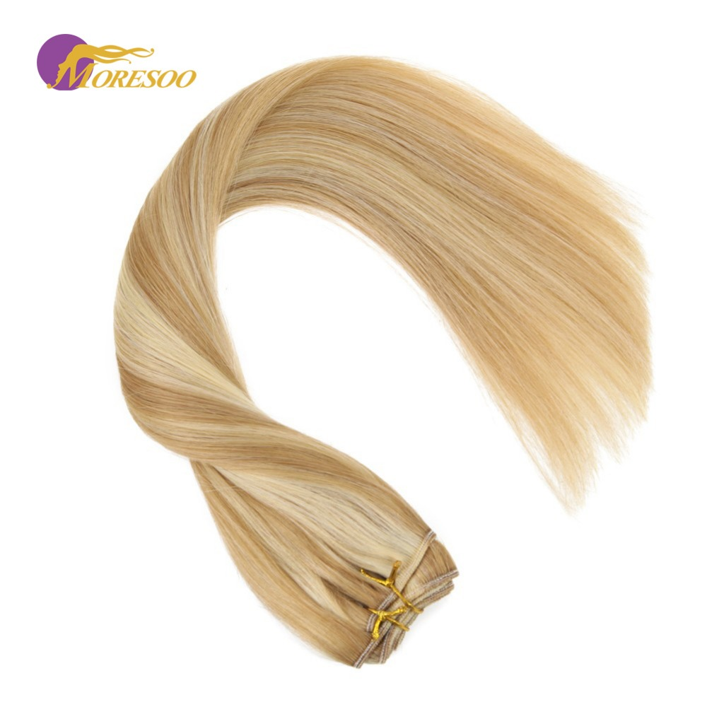 Moresoo Machine Remy Human Hair Color #14 Highlighted With #613 Blonde Hair Weaving/Weft Human Hair Extensions 100g Per Bundle