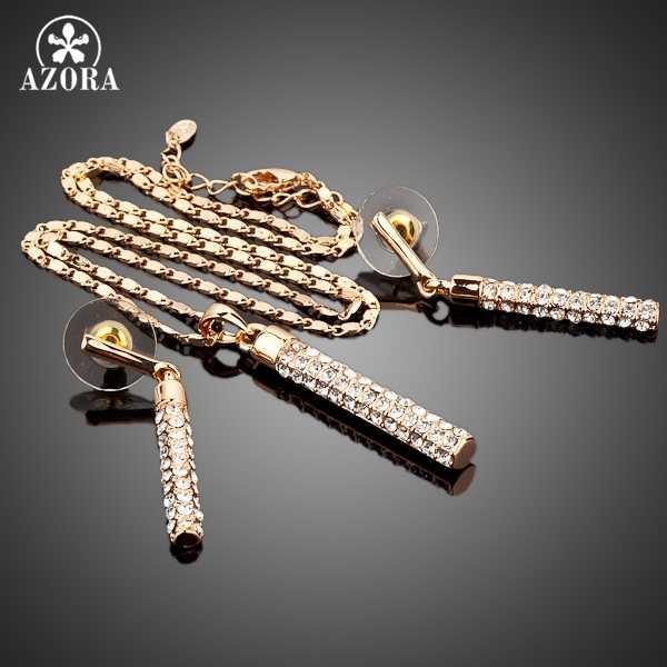 AZORA złoty jasny kolor Austria wiszące kolczyki z kryształkami i naszyjnik zestawy biżuterii TG0007