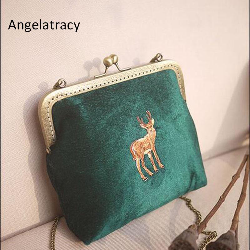 Angelatracy 2018 VintageDeer Animal Embroidery Floral Clasp Chain Metal Frame Velvet Crossbody Women's Shoulder Totes Shell Bag