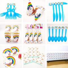 Disney ! Unicorn Kid Birthday Party Cup Plate Banner Hat Straw Fork knive horn Kids Rainbow Balloons Supplies