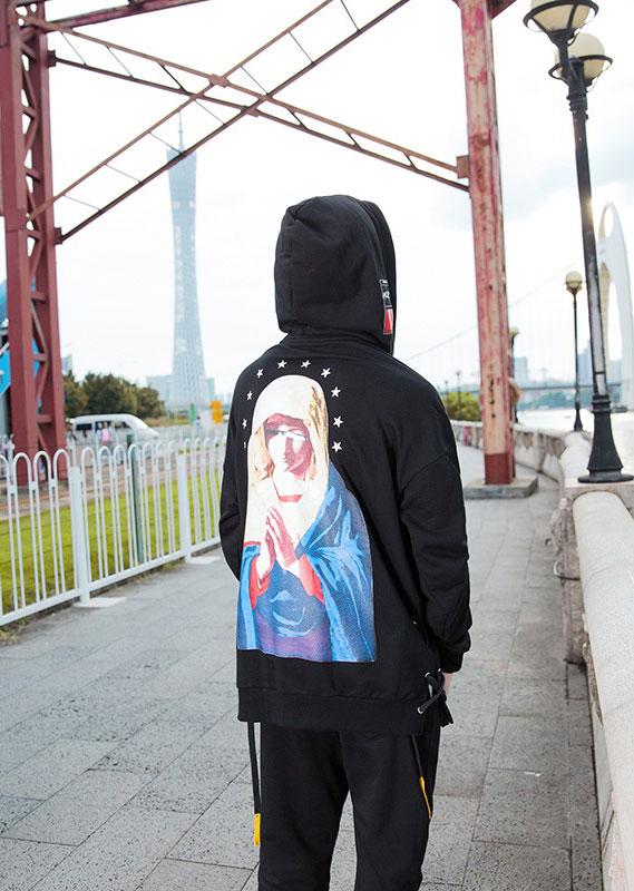 Virgin Mary Printed Oversized Hoodie