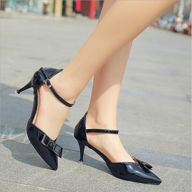 New 2017 Summer fashion Buckle Strap Thin High Heels Women Pumps Sexy Leather pointed Toe Shoes women wedding party shoes S146 women pumps flock high heels shoes woman fashion 2017 summer leather casual shoes ladies pointed toe buckle strap high quality