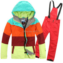 2015 New womens ski suit ladies snowboard suit skiwear color matching strips jacket + red pants waterproof breathable 7colors