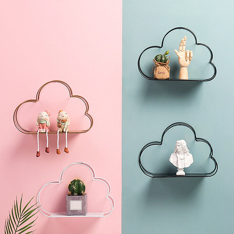 Nordic Style Creative Cloud Design Shelf Potted Ornament Storage Holder Rack Shelves For Home Living Room Wall Decoration