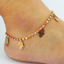 2016 Hot Sell Colorful Bead Chain Foot Jewelry Hamsa Hand Fatima Palm Anklet For Women Fine Jewelry Wholesale 8936