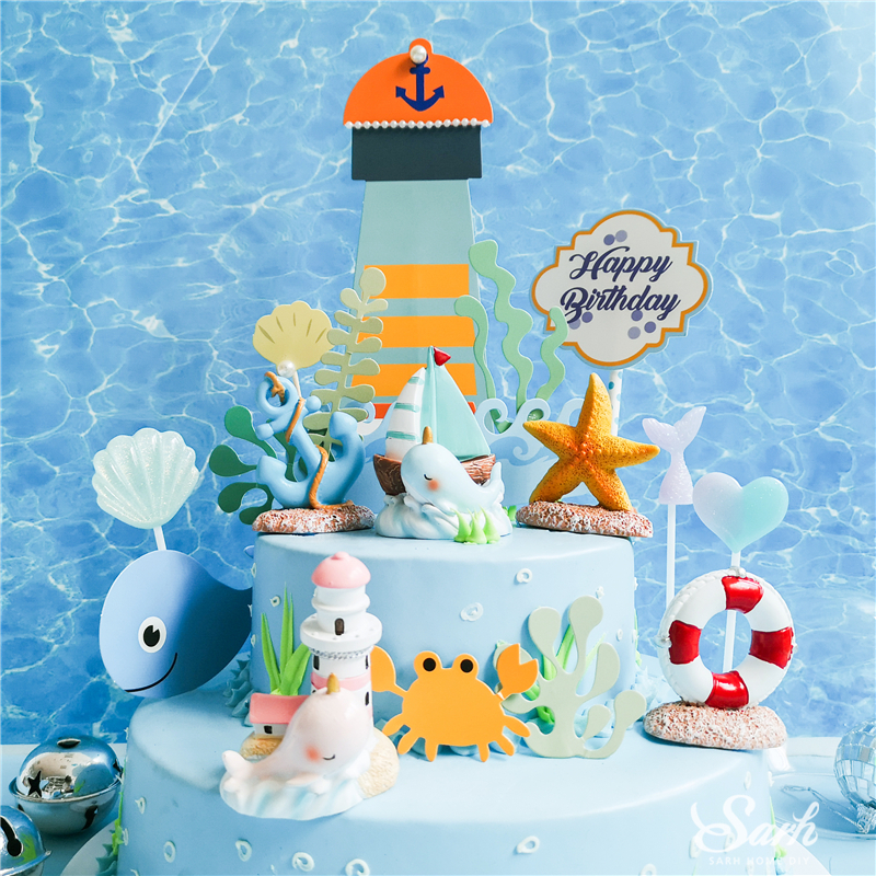 Magnificent Hot Deal Cfaf3 Bling Lighthouse Dolphin Cake Toppers Starfish Personalised Birthday Cards Akebfashionlily Jamesorg