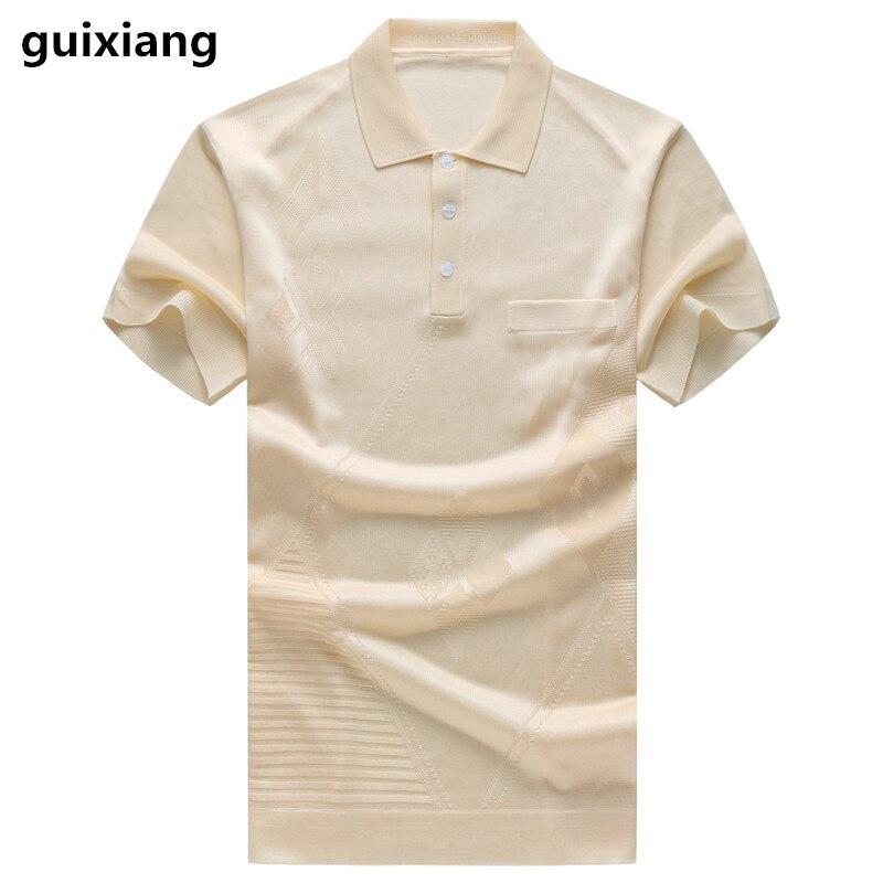 2019 summer Men's casual fashion silk short sleeved   Polo   shirts Men high quality 100% silk business   Polo   shirt men size M-4XL
