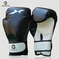 BONSEM Brand Leather Punching Mitten Muay Thai Boxing Gloves Boxer Needed Accessory Training Sport Sandbag Gloves