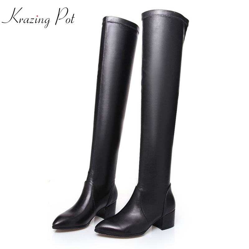 Krazing Pot 2019 cow leather pointed toe winter shoes high heels sexy women streetwear keep warm over the knee stretch boots L61Krazing Pot 2019 cow leather pointed toe winter shoes high heels sexy women streetwear keep warm over the knee stretch boots L61