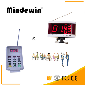 Mindewin Wireless Queue Management System Most Digital M-R-3 LED Display Show Four Groups Electronic Number With M-T-2 K