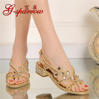 2017 New Summer Womens Gold Elegant Shoes Heels Crystal Diamond Flat Bridal Wedding Sandals For Ladies