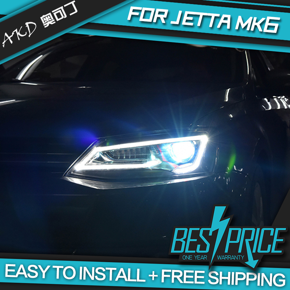 Akd car styling head lamp for vw jetta mk6 2011 headlight led headlight angel eye low