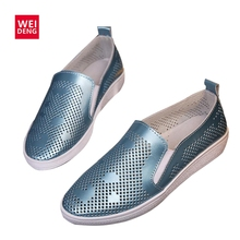 WeiDeng 2017 Women Casual Genuine Leather Flat Slip on Shoes Boat Comfortable Soft Flat Hollow Out Ventilation Fashion Printing