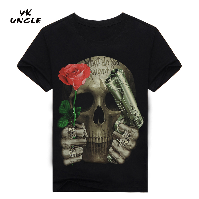 3D Printed Skull Floral   T  -  shirt   for men Newest Fashion Designed Tees Tops Punk Rock Style Cotton Man   t     shirt   Plus Size,YK UNCLE