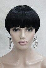 Hivision Jet Black Bob Mushroom Style with Bangs Center Dot Skin Top wig