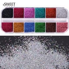 1 Set Gemengde Kleuren Laser Nail Art Glitter Super Shining Holografische Glitter Poeder Manicure Stof Sparkles Nail Decoraties LAL