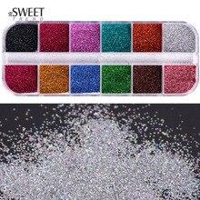 1 ensemble de couleurs mélangées Laser Nail Art paillettes Super brillant holographique paillettes poudre manucure poussière étincelles ongles décorations LAL