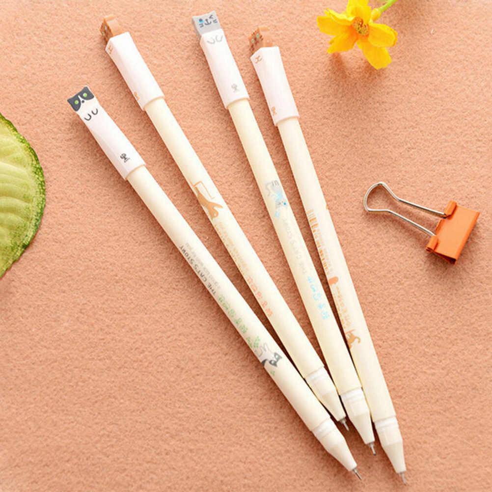 6PCS 0.38mm Korean Cute Kawaii Cat Japanese Gel Pens Blue Black Wrting Office School Supplies Stationery