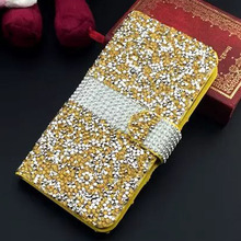 Luxury Rhinestone Leather Case Flip Diamond  Phone Cover Bling Crystal Bag Coque Capa Fundas Para for Samsung Galaxy S7/S7 Edge