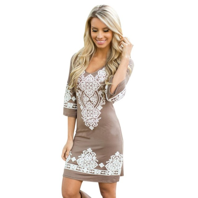 Retro Style Sexy Women Bodycon Dress Floral Printed 3/4 Sleeve Casual Mini Dresses Robe Femme J2 V5