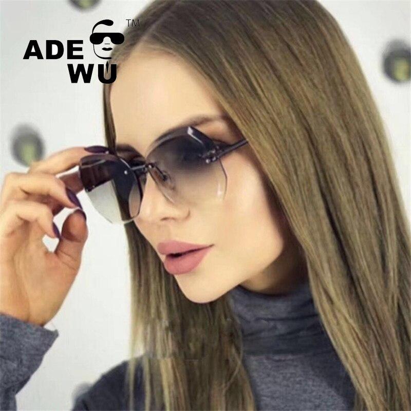 Adewu Rimless Sunglasses Women Blue Mirror Reflective Sun Glasses Alloy Legs Elegant Style Glasses Original Design oculos AS1027 ...