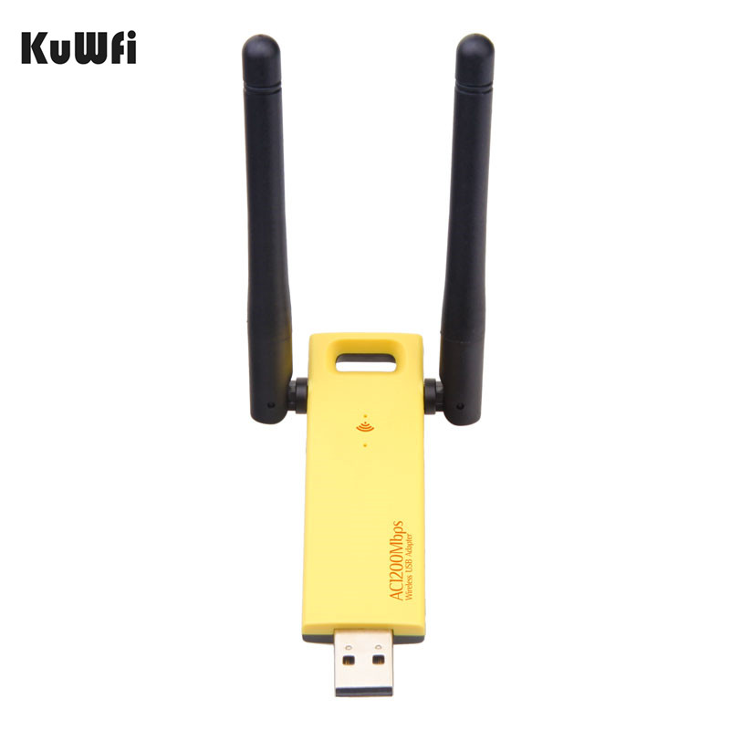 KuWFi Wireless USB Adapter 1200Mbps Dual Band 5Ghz 2.4Ghz Mini USB Network Card 802.11ac RTL8812AU Chipset Aerial Dongle