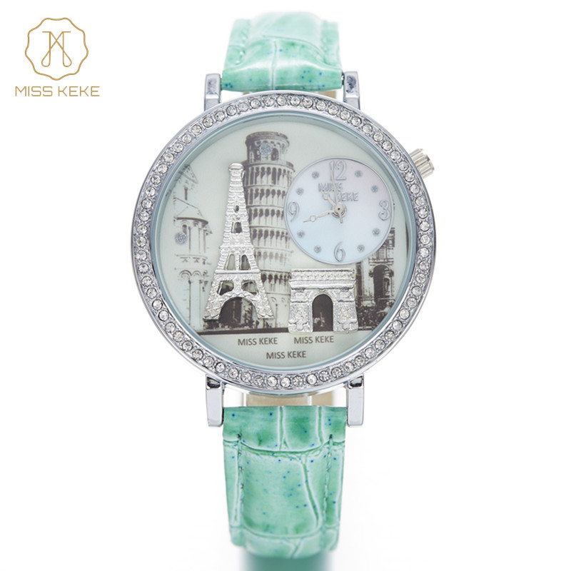 Relojes Mujer Miss Keke Māla Cute 3D Mini World Eiffel Tower Pulkstenis Sieviešu Pulksteņi Dāmas Sieviešu Montre Femme Rokas pulksteņi 1309