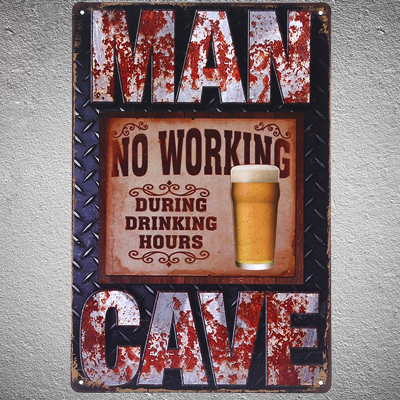 No Working During Drink Hours Metal Signs Vintage Home