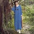 2017 оригинальный дизайн Китай ветер Женщин новый весна лето девять длинный выстрел рукавом хлопок дышащий лето dress vestidos