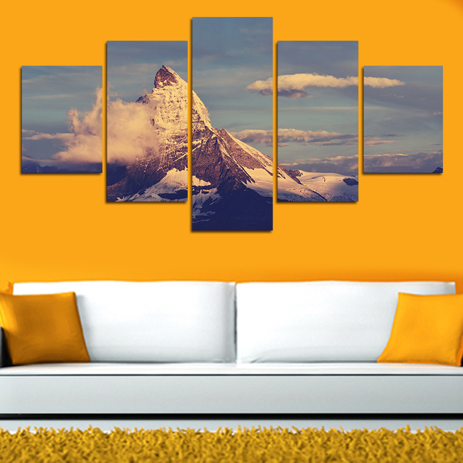 2017 5 Pcs Mountains Clouds Canvas Print Painting Home Decor Wall ...