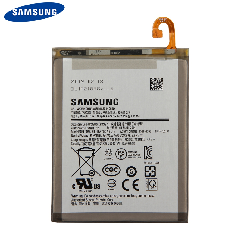 Original Samsung Battery EB BA750ABU For Samsung Galaxy A7 2018 version A730x A750 SM A730x Genuine Battery 3300mAh in Mobile Phone Batteries from Cellphones Telecommunications