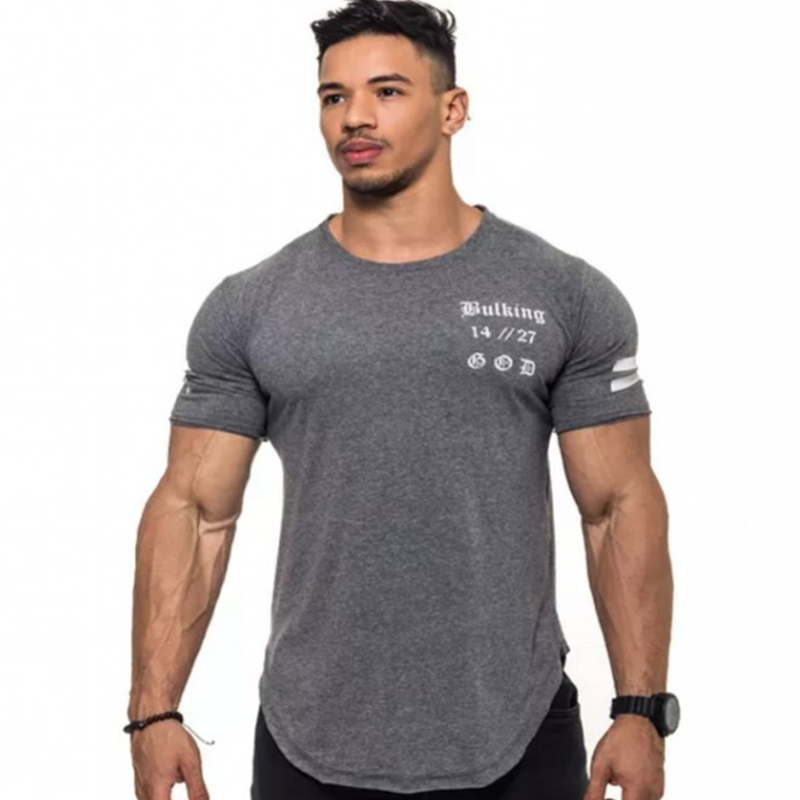 running - Mens Run Jogging Sports Cotton T-shirt Man Gym Fitness Bodybuilding Short sleeve t shirt Male Workout Training Tee Tops Clothing