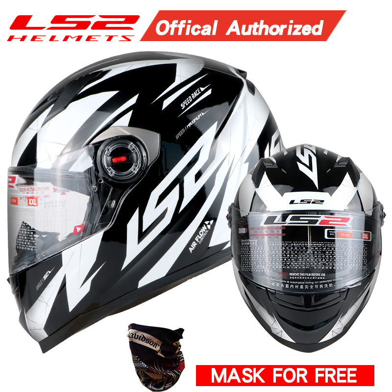 LS2 FF358 nouveau authentique qualité supérieure plein visage moto rcycle casque hommes racing moto casques ECE capacete casqueiro casque pas de pompe