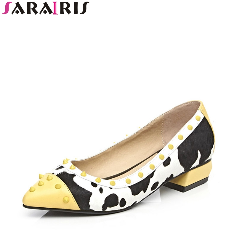 SARAIRIS 2018 Spring Autumn Fashion Sweet Genuine Leather Mixed Color Med Heels Pumps Pointed Toe Shallow Rivet Shoes Woman free shipping 2016 spring autumn pointed toe rhinestone med heels woman shoes big size40 21 42 43 nubuck leather pumps shoes