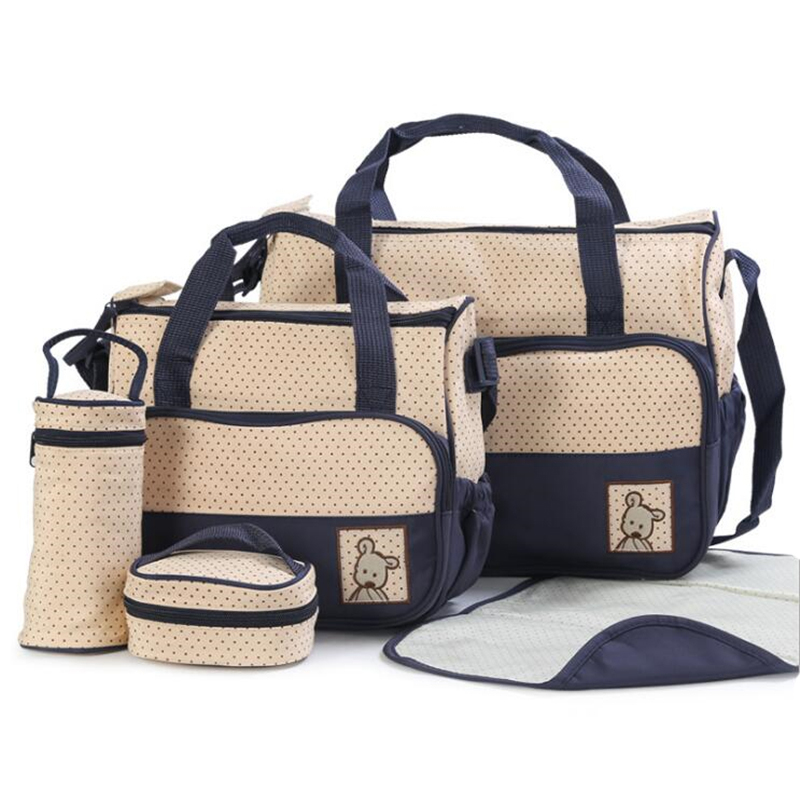 5Pcs/Set Fashion Diaper Bag Mummy Stroller Bag Large Capacity Handbag Nappy Changing Pad for Baby Care with 4 Colors
