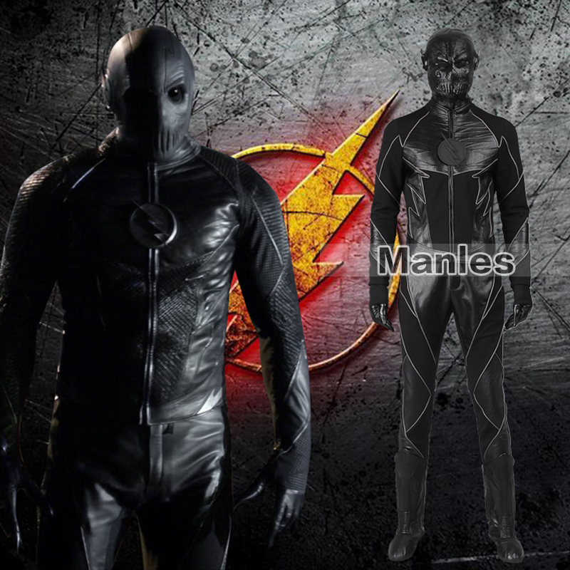 The Flash Zoom Costume Reverse-Flash Zoom Costume Black Version Hunter Zolomon Cosplay Clothing Adult Men Costume Full Set Boots