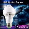 1 unids Sensor de movimiento PIR lámpara 5 w Led E27 7 w 9 w Smart Auto Led PIR lámpara cuerpo con la luces del Sensor de movimiento