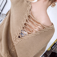 цена на Autumn New Woman Sweaters Back Lace-up Loose Pull for Woman V-neck Female Casual Knitted Pullover