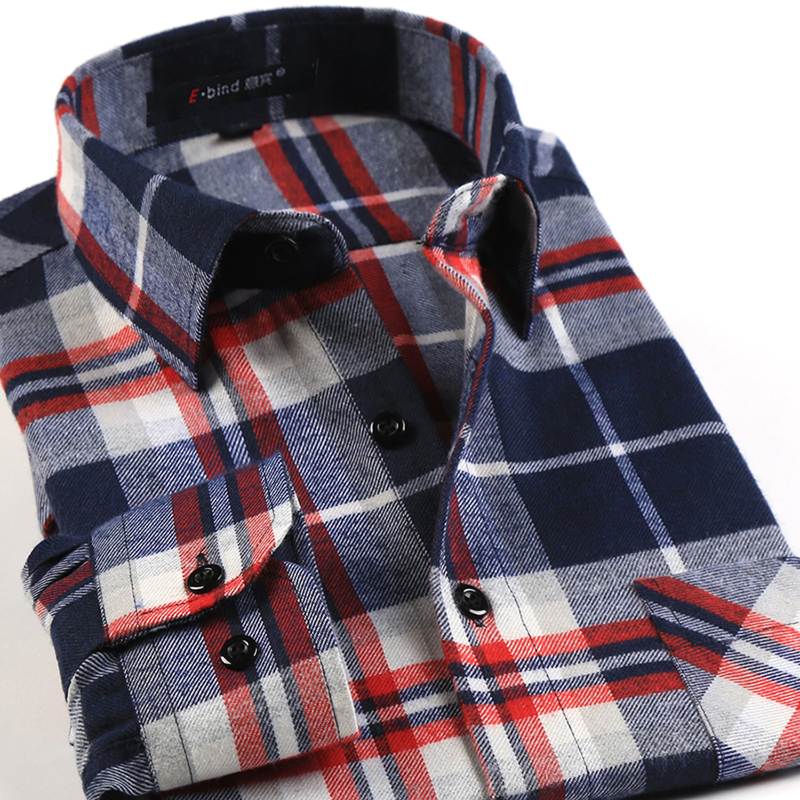 Spring fall 2017 new mens casual plaid shirts long sleeve for Mens casual plaid shirts