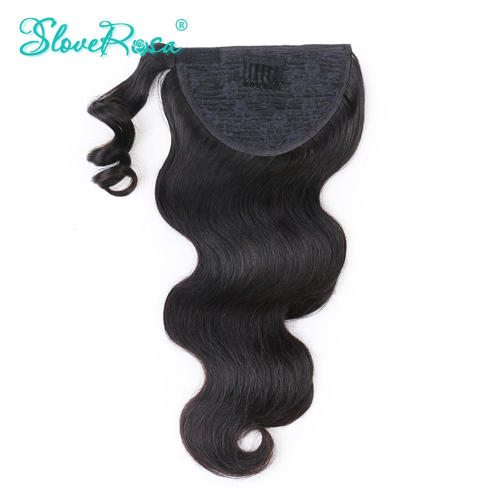 Ponytail Body Wave Brazilian Hair With Full End Natural Black Color For Woman 150g Remy Human