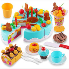 75Pcs DIY Pretend Play Fruit Cutting Birthday Colorful Cake Kitchen Food Toys For Children Kids Plastic Pink Blue Color Gift Toy недорого