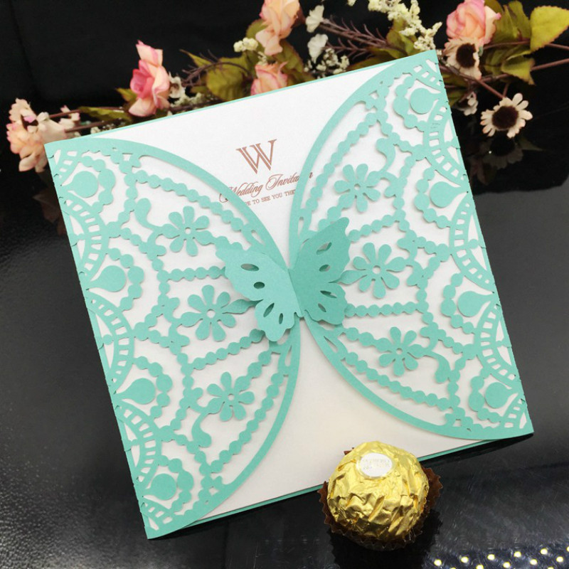 10Set Multi Color Laser Cut Butterfly Wedding Invitation Cards Bussiness  Cards Party Souvenirs Wedding Centerpieces