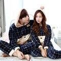Mulheres Sleepwear Pijama Longo-Luva Outono e inverno flanela Amor Quente Mens Pijama Sono das Mulheres Salão de Pijama Casal conjuntos