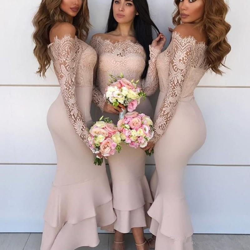 Mermaid   Bridesmaid     Dresses   Off the Shoulder Wedding Party   Dresses   Sexy Lace Long Sleeves Tiered Fashion Ankle Length Prom   Dress