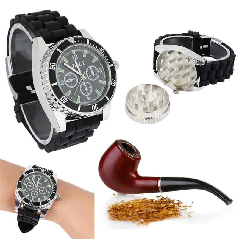 Black Zinc Alloy Wrist Watch Herb Spice Tobacco Grinder Cigarette Crusher 2017-2018 Hot Sale