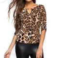 2016 Mulheres do Outono do Verão Tees Plus Size Moda Elegante Tops Sexy Slim Bodycon Leopard V Neck Camisa Das Mulheres T