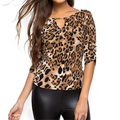 2016 Summer Autumn Women Tees Plus Size Fashion Elegant Tops Sexy Slim Bodycon Leopard V Neck Women T Shirt
