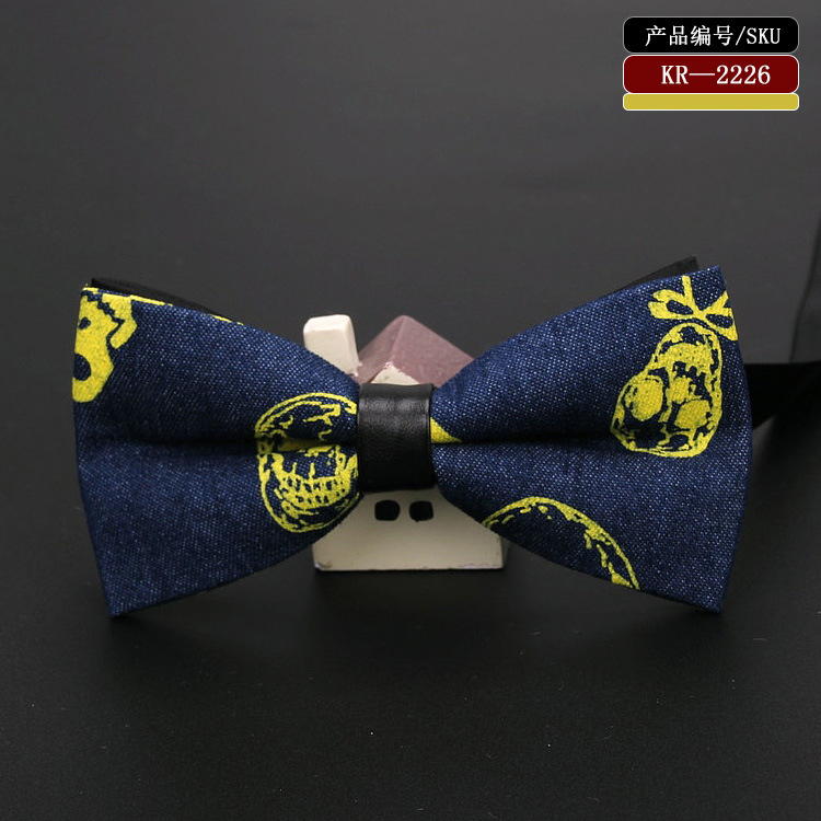 Männer Bogen Krawatten Vintage Stil Denim Weiß Gold Schädel Fliege Business Party Mode Krawatte SpäTester Style-Online-Verkauf Von 2019 50% Bekleidung Zubehör