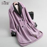 Real Fur Coat Female 2018 Autumn Winter Jacket Mink Fur Collar Wool Coats Long Sheepskin Leather Jacket Abrigo Mujer KJ903