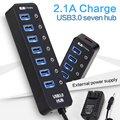 7 Порта USB 3.0 КОНЦЕНТРАТОР Сплитер + один Порт Зарядки с 7 individual Power Switcheds строить-в usb 3.0 кабель usb 3.0 powered концентратор